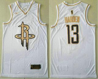 Men's Houston Rockets #13 James Harden White Golden Nike Swingman Stitched NBA Jersey