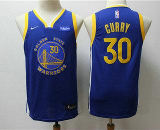 Youth Golden State Warriors #30 Stephen Curry Blue 2020 Nike Swingman NEW Rakuten Logo Stitched NBA Jersey