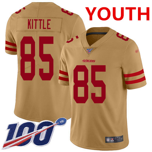 Youth 49ers #85 George Kittle Gold Stitched Football Limited Inverted Legend 100th Season Jersey