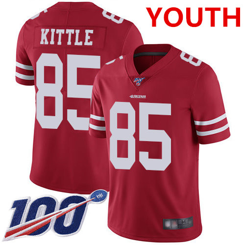 Youth 49ers #85 George Kittle Red Team Color Stitched Football 100th Season Vapor Limited Jersey