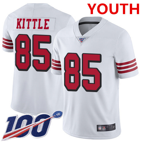 Youth 49ers #85 George Kittle White Rush Stitched Football Limited 100th Season Jersey