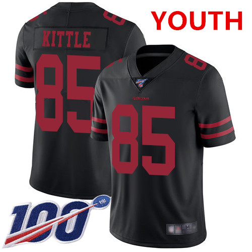 Youth 49ers #85 George Kittle Black Alternate Stitched Football 100th Season Vapor Limited Jersey