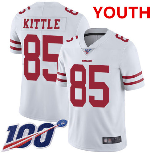 Youth 49ers #85 George Kittle White Stitched Football 100th Season Vapor Limited Jersey