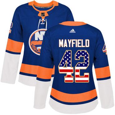 Women's New York Islanders #42 Scott Mayfield Adidas Royal Blue Authentic USA Flag Fashion NHL Jersey