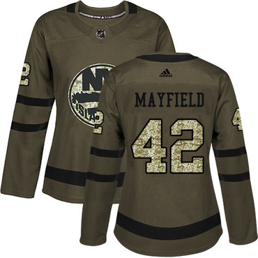 Women's New York Islanders #42 Scott Mayfield Adidas Green Authentic Salute To Service NHL Jersey