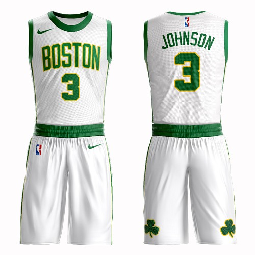 Boston Celtics #3 Dennis Johnson White Nike NBA Men's City Authentic Edition Suit Jersey