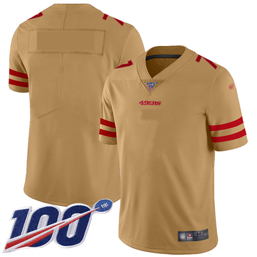 Nike 49ers Gold Men's NFL Limited Inverted Legend 100th Season Blank Jersey