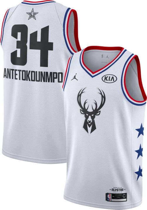 Jordan Men's 2019 NBA All-Star Game #34 Giannis Antetokounmpo White Dri-FIT Swingman Jersey