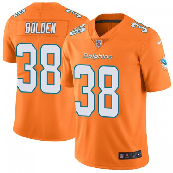 Men's Miami Dolphins #38 Brandon Bolden Nike Limited Color Rush Orange Jersey