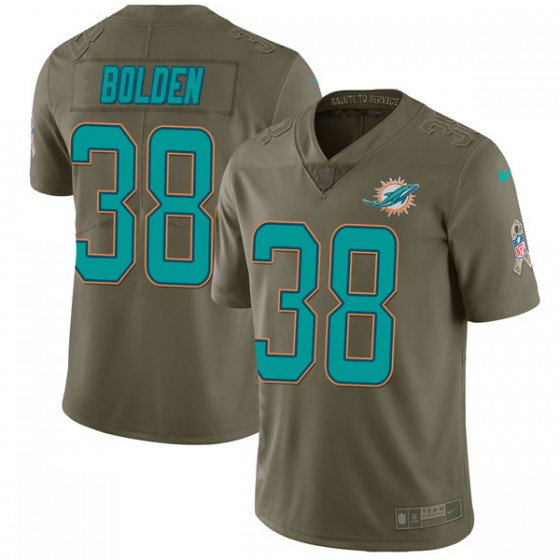 Men's Miami Dolphins #38 Brandon Bolden Nike Limited 2017 Salute to Service Green Jersey