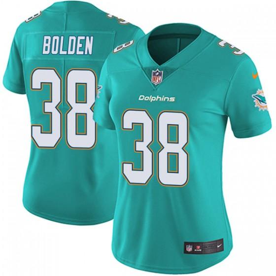 Women's Miami Dolphins #38 Brandon Bolden Nike Limited Team Color Vapor Untouchable Aqua Jersey