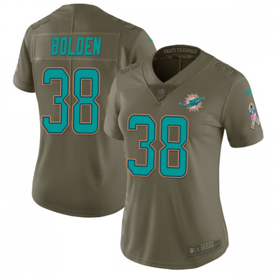 Women's Miami Dolphins #38 Brandon Bolden Nike Limited 2017 Salute to Service Green Jersey