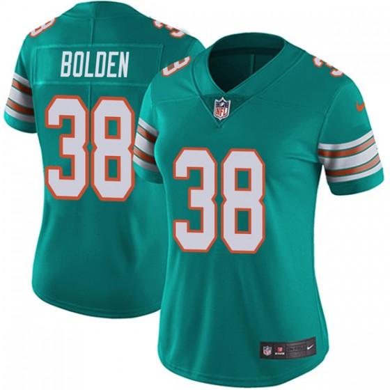 Women's Miami Dolphins #38 Brandon Bolden Nike Limited Alternate Vapor Untouchable Aqua Jersey