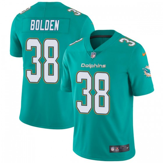 Youth Miami Dolphins #38 Brandon Bolden Nike Limited Team Color Vapor Untouchable Aqua Jersey