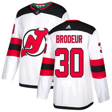 Men's Adidas New Jersey Devils #30 Martin Brodeur White Authentic Stitched NHL Jersey
