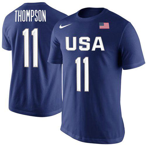 Team USA 11 Klay Thompson Basketball Nike Rio Replica Name & Number T-Shirt Royal
