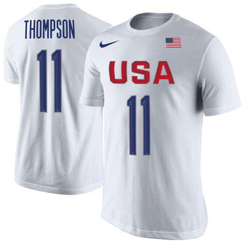 Team USA 11 Klay Thompson Basketball Nike Rio Replica Name & Number T-Shirt White