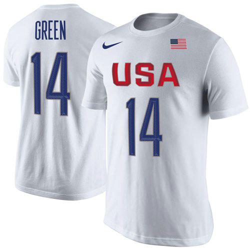 Team USA 14 Draymond Green Basketball Nike Rio Replica Name & Number T-Shirt White