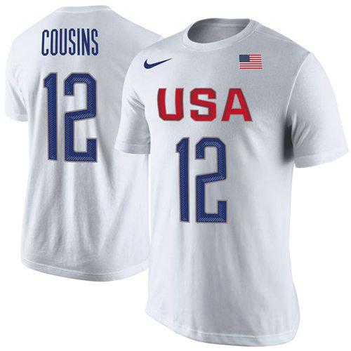 Team USA 12 DeMarcus Cousins Basketball Nike Rio Replica Name & Number T-Shirt White