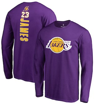 Men's Los Angeles Lakers 23 LeBron James Fanatics Branded Purple Backer Name & Number Long Sleeve T-Shirt
