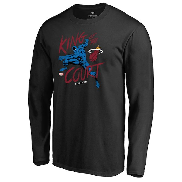 Men's Miami Heat Fanatics Branded Black Marvel Black Panther King of the Court Long Sleeve T-Shirt