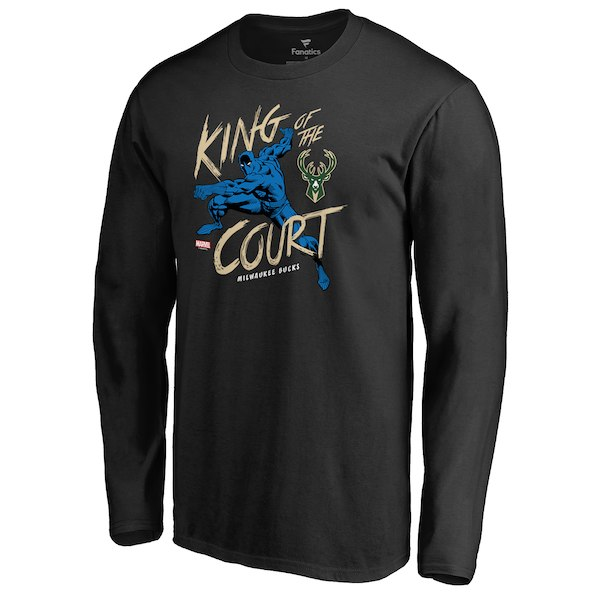 Men's Milwaukee Bucks Fanatics Branded Black Marvel Black Panther King of the Court Long Sleeve T-Shirt