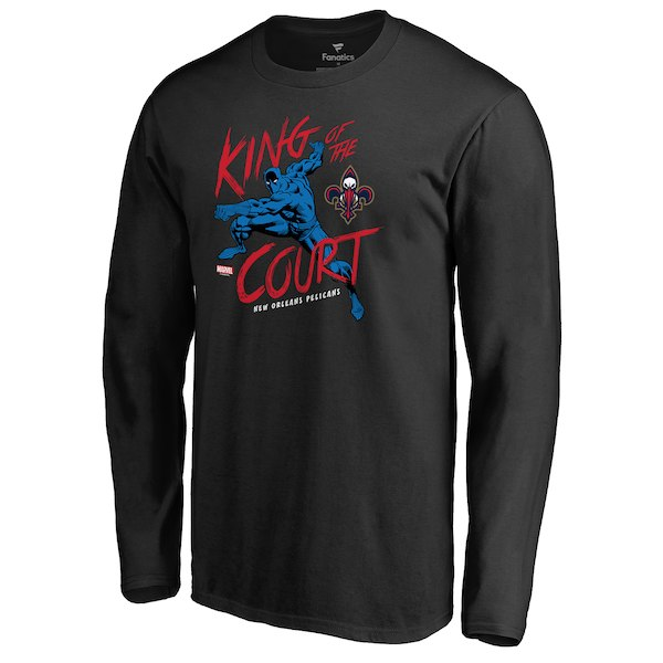 Men's New Orleans Pelicans Fanatics Branded Black Marvel Black Panther King of the Court Long Sleeve T-Shirt