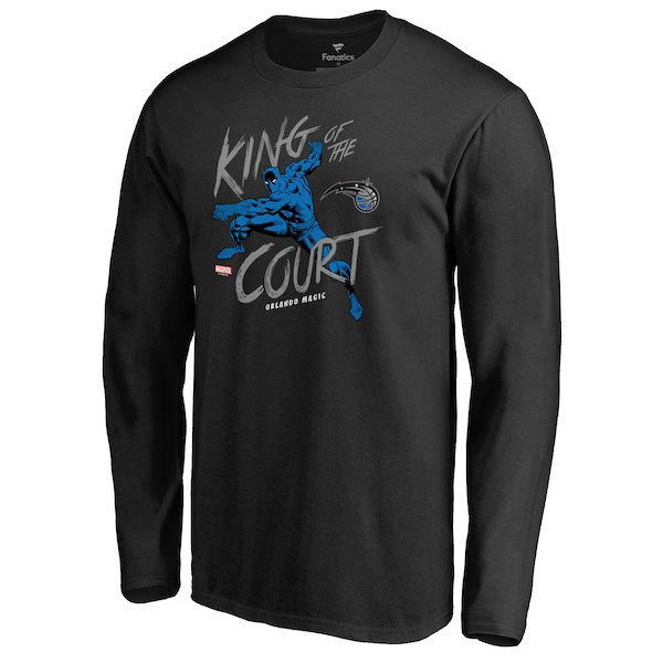 Men's Orlando Magic Fanatics Branded Black Marvel Black Panther King of the Court Long Sleeve T-Shirt