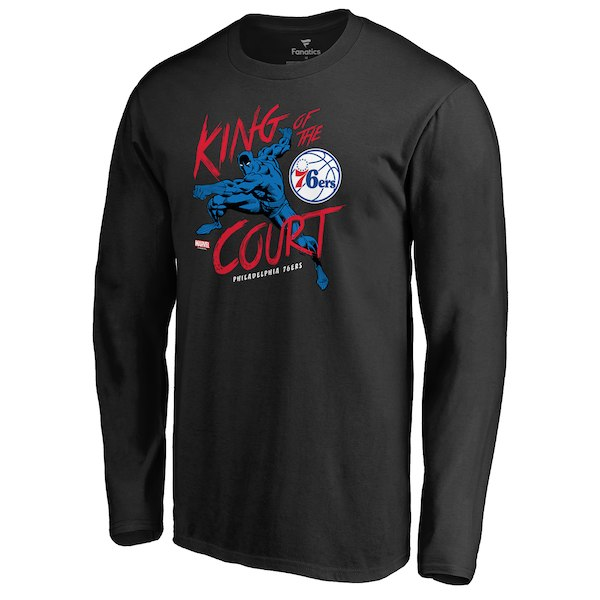Men's Philadelphia 76ers Fanatics Branded Black Marvel Black Panther King of the Court Long Sleeve T-Shirt