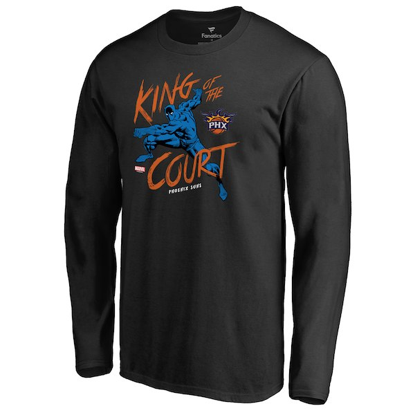 Men's Phoenix Suns Fanatics Branded Black Marvel Black Panther King of the Court Long Sleeve T-Shirt
