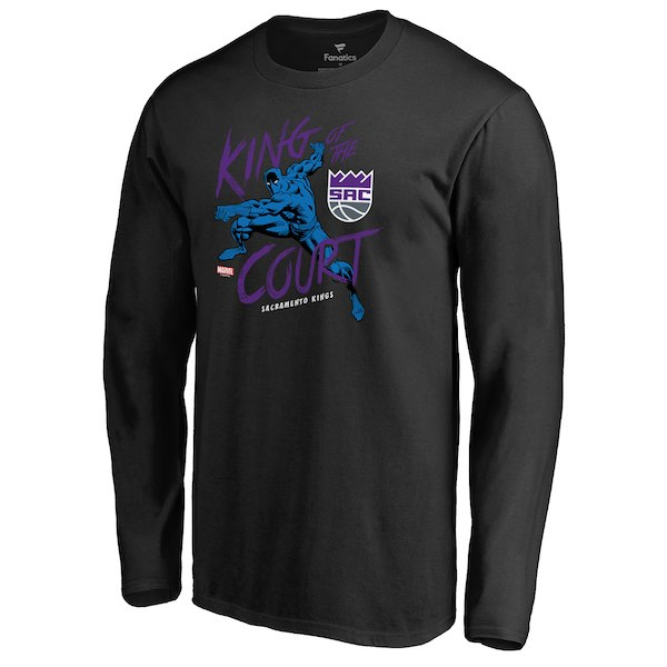 Men's Sacramento Kings Fanatics Branded Black Marvel Black Panther King of the Court Long Sleeve T-Shirt