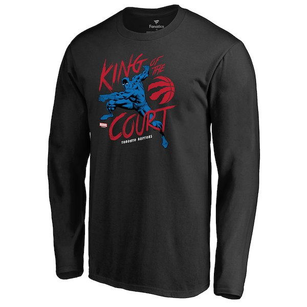 Men's Toronto Raptors Fanatics Branded Black Marvel Black Panther King of the Court Long Sleeve T-Shirt