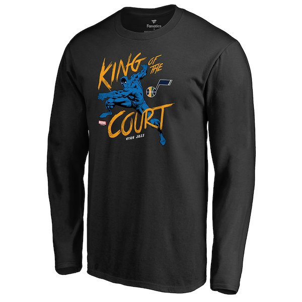 Men's Utah Jazz Fanatics Branded Black Marvel Black Panther King of the Court Long Sleeve T-Shirt