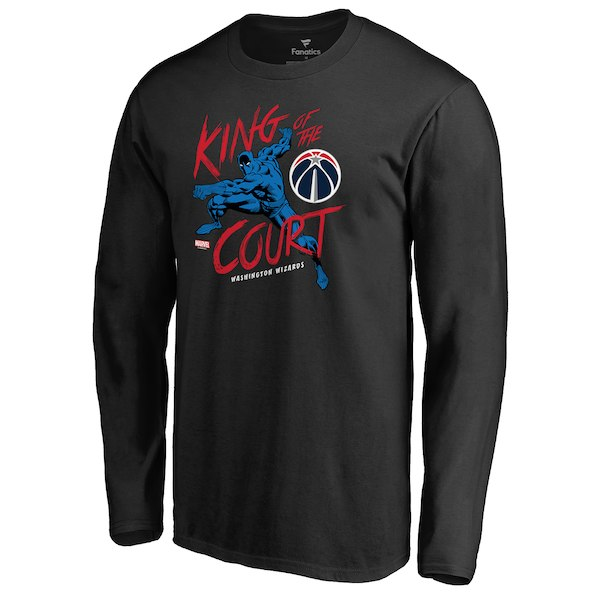 Men's Washington Wizards Fanatics Branded Black Marvel Black Panther King of the Court Long Sleeve T-Shirt