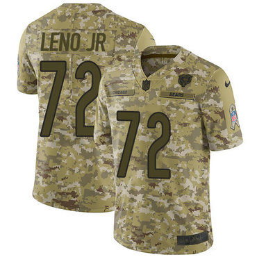 Men's Nike Chicago Bears #72 Charles Leno Jr Camo Stitched Football Limited 2018 Salute To Service Jersey