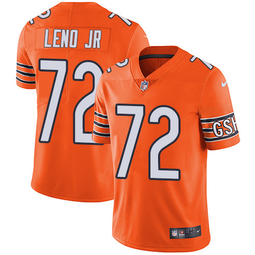 Men's Nike Chicago Bears #72 Charles Leno Jr Orange Stitched Football Limited Rush Jersey