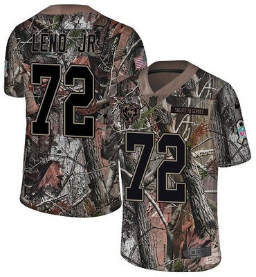 Men's Nike Chicago Bears #72 Charles Leno Jr Camo Stitched Football Limited Rush Realtree Jersey
