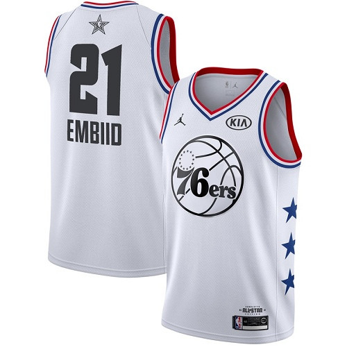 76ers #21 Joel Embiid White Basketball Jordan Swingman 2019 All-Star Game Jersey