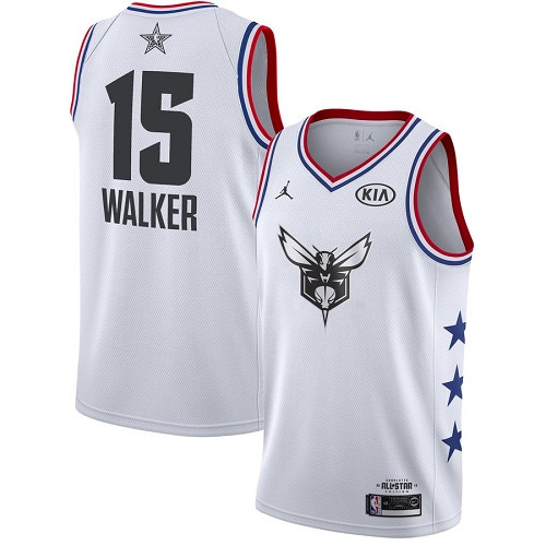 Hornets #15 Kemba Walker White Basketball Jordan Swingman 2019 All-Star Game Jersey