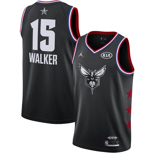 Hornets #15 Kemba Walker Black Basketball Jordan Swingman 2019 All-Star Game Jersey
