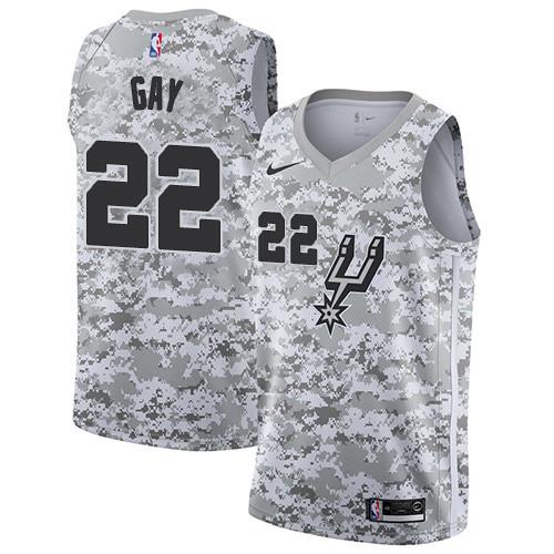 Men's Nike San Antonio Spurs #22 Rudy Gay White Camo Basketball Swingman Earned Edition Jersey