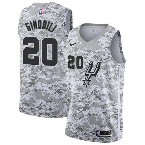 Men's Nike San Antonio Spurs #20 Manu Ginobili White Camo Basketball Swingman Earned Edition Jersey