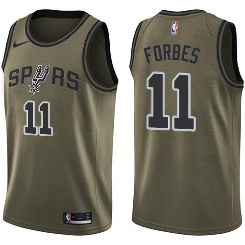 Men's Nike San Antonio Spurs #11 Bryn Forbes Green Basketball Swingman Salute to Service Jersey