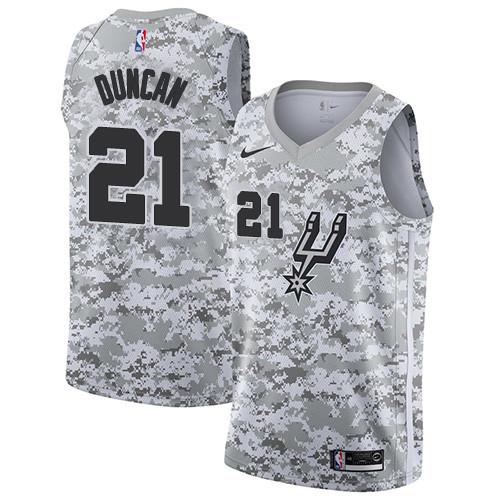 Men's Nike San Antonio Spurs #21 Tim Duncan White Camo Basketball Swingman Earned Edition Jersey