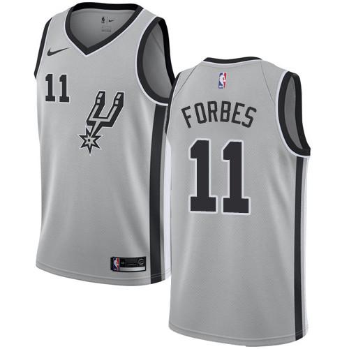 Men's Nike San Antonio Spurs #11 Bryn Forbes Silver Basketball Swingman Statement Edition Jersey