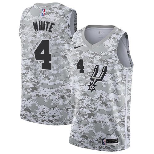 Men's Nike San Antonio Spurs #4 Derrick White White Camo Basketball Swingman Earned Edition Jersey