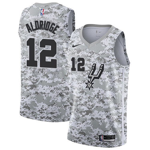Men's Nike San Antonio Spurs #12 LaMarcus Aldridge White Camo Basketball Swingman Earned Edition Jersey