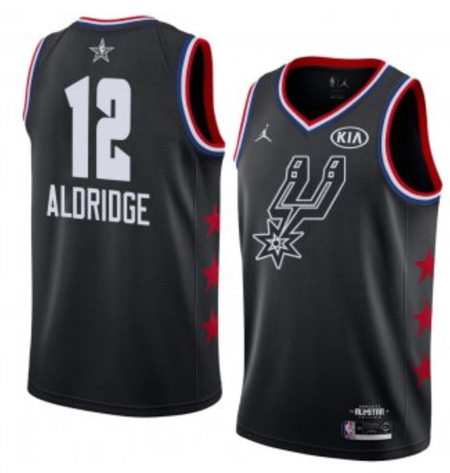 San Antonio Spurs #12 LaMarcus Aldridge Black Basketball Jordan Swingman 2019 All-Star Game Jersey