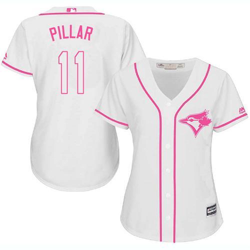 Women's Toronto Blue Jays #11 Kevin Pillar White Pink Fashion Stitched MLB Jersey