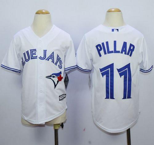 Youth Toronto Blue Jays #11 Kevin Pillar White Cool Base Stitched MLB Jersey